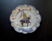 French Antique Joan of Arc Plate in Majolica