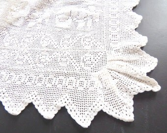 Vintage French Bed Coverlet Hand Crocheted Hearts and Flowers Motif
