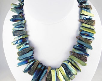 DRUZY CRYSTALS n Slices Choker NECKLACE!! Winter Blue. Year round look.