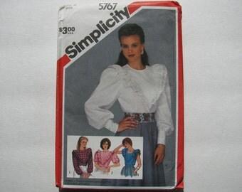 Simplicity 5767 Vintage 1980s Blouse Top Size 12