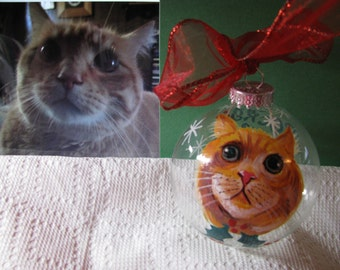Pet  Ornament Hand Painted  Memorial Portrait  Animal  Cartoon Portrait  Custom  Personalized Cat  Dog