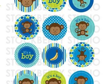 Boy Monkey Baby Shower Printable - Monkey Cupcake Toppers - 2 inch Cupcake Toppers - Monkey Party Favors - Blue Green Boy Baby Shower