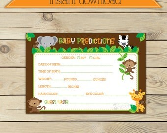 Safari Baby Shower Baby Predictions Card Printable - Instant Download - Jungle Animals Baby Shower Games - Baby Shower Activites - Neutral