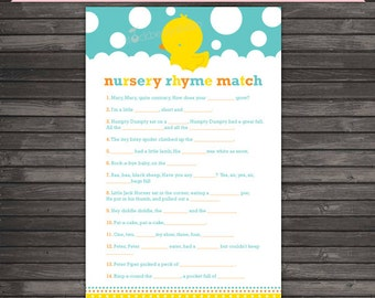 Rubber Ducky Baby Shower Nursery Rhyme Quiz - Gender Neutral Baby Shower Games Printable - Instant Download - Aqua Blue Baby Shower Game