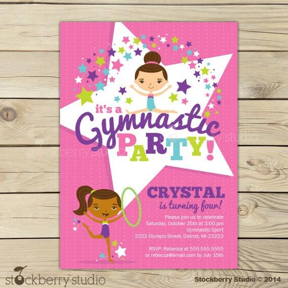 Gymnastics Birthday Invitation Printable Gymnastics Party
