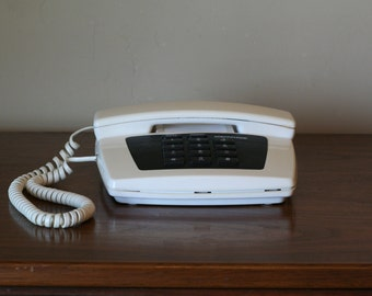 Conair Push Button Telephone - Retro Land Line Phone White with Black Buttons
