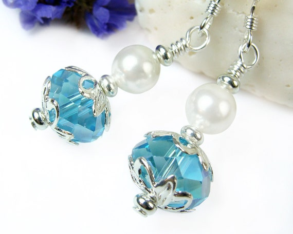 Blue Crystal White Pearl Short Dangle Earrings Sterling Silver Handmade