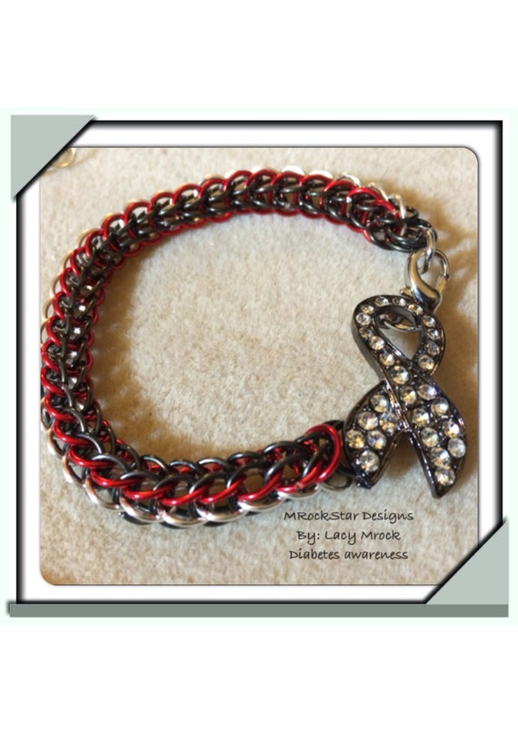 items similar to diabetes awareness bracelet chainmaille