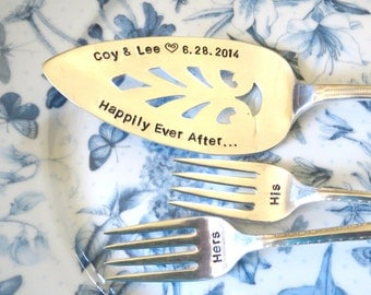 Weddings, Wedding Decor, Wedding Table Setting, Silver plate Cake Server. Cake Forks. Hand Stamped, PERSONALIZE and CUSTOMIZE your own