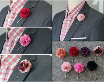 10 Carnation lapel Flowes, lapel pin, mens wedding boutonniere, button back pin, hat pin, brooch pin, mens grooms lapel pin