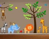 Jungle Theme Nursery Wall Decal, Jungle Bedroom Art, Playroom Wall Art Stickers,Daycare Jungle Decor,Jungle Land Decal