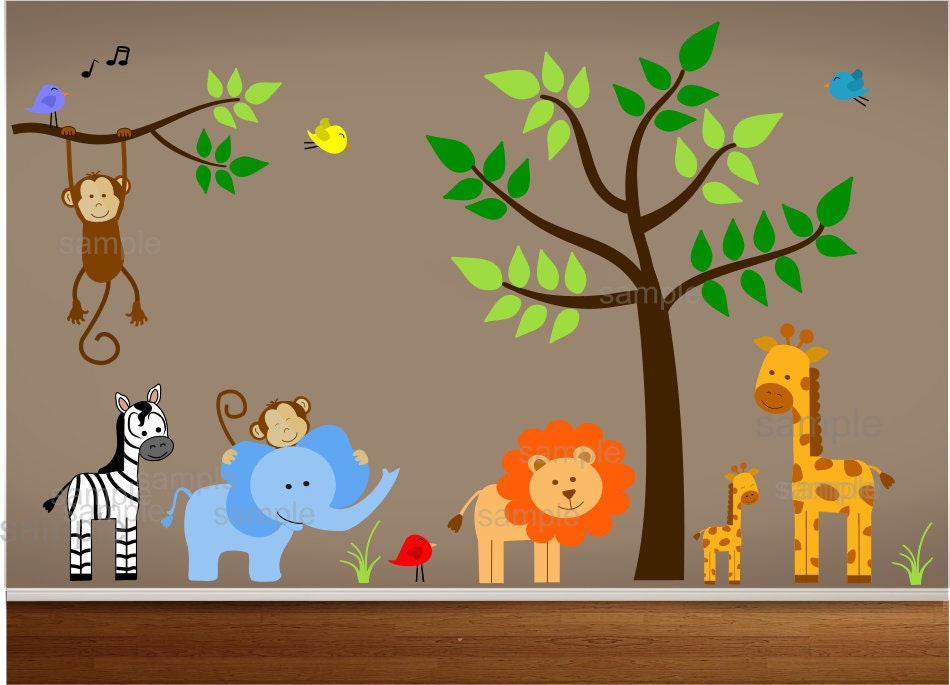 Jungle theme nursery wall decal jungle bedroom art playroom for Baby room jungle mural