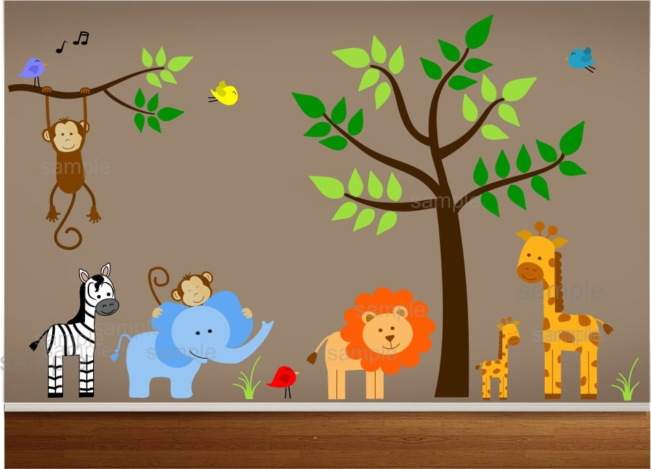 Jungle Wall Decor Stickers : Jungle theme nursery wall decal bedroom art playroom