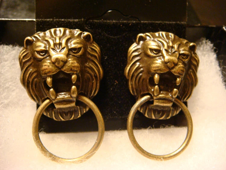 Antique bronze lion head door knocker steampunk by clockworkalley - Antique brass lion head door knocker ...