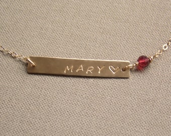 Birthstone Personalized Name Bar Necklace, Mothers Necklace, 14K GOLD fill Bar Necklace, Gemstone Personalized Jewelry, Birthstone Necklace