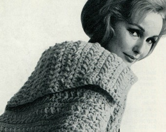Ladies' 1960s Crocheted Stole Jacket with Collar -- PDF CROCHET PATTERN