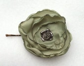 Green layered flower bobby pin with metal rose center