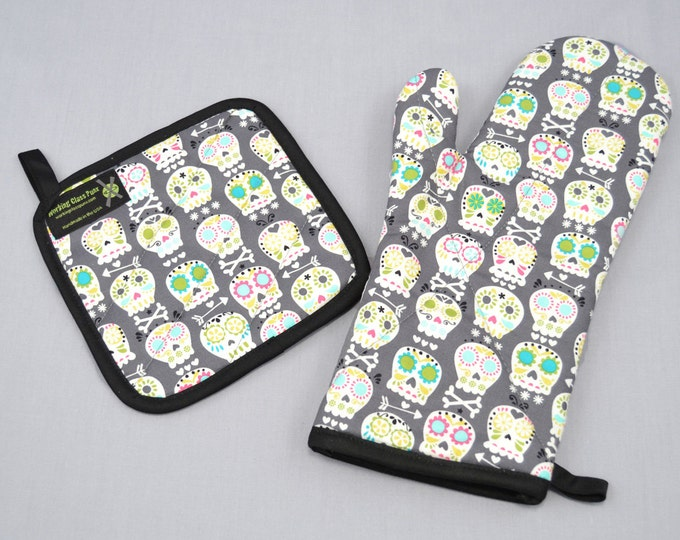 Sugar Skulls Oven Mitt and Pot Holder Sets/Singles