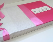 Lace Bridal Shower Guest Book, Hot Pink + White Wedding Guestbook, Vintage Lace Guestbook - (Custom Colors Availabl