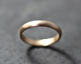 Women's or Men's Gold Wedding Band, 3mm Half Round Recycled 14k Yellow Gold Ring Brushed Gold Wedding Ring - Made in Your Size