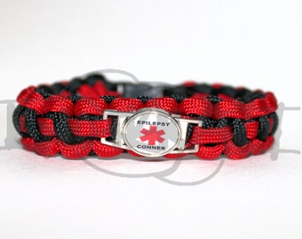Custom Epilepsy and Name Medical Alert ID ALLOY Charm on 550 Paracord Survival Strap Bracelet with Plastic Contoured Side Release Buckle