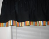 Black valance with bold stripe