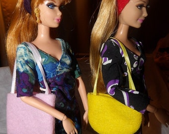 Accessory Set - 2 purses, 2 belts / headbands, 1 pair of shoes for Fashion Dolls - as12