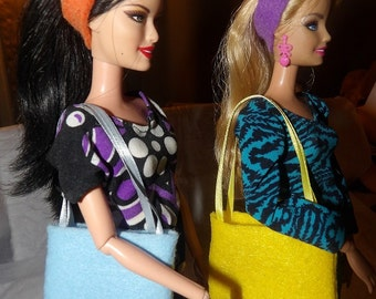 Accessory Set - 2 purses, 2 belts / headbands, 1 pair of shoes for Fashion Dolls - as11