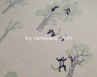 "monkeys and trees, Hand Drawing print on slub cotton fabric, half yard by 43"" wide"