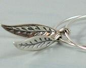 1 inch Silver Leaf Hoop Earrings - Argentium Sterling Silver Leaf Earrings Boho Earrings Bohemian Jewelry