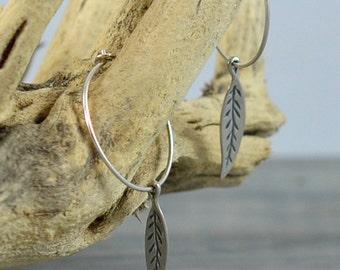 Bohemian Earrings Silver Leaf Hoop Earrings in Argentium Sterling Silver - Boho Hoop Earrings - Bohemian Jewelry