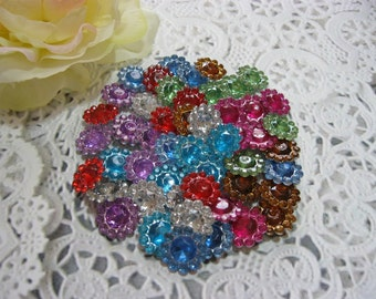 50 Mixed Acrylic Rhinestones Acrylic Gems Cabochons for Scrapbooking Cards Mini Albums Tags and Papercrafts Jewelry DIY