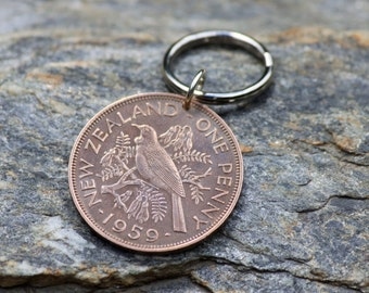 Coin Keychain New Zealand / Penny Coin / Tui Bird / Copper / Genuine Pre Decimal Coins