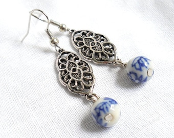 Delft chandelier etsy delft blue earrings delft chandelier earrings dangle earings delft blue and white delft porcelain earrings delft mozeypictures