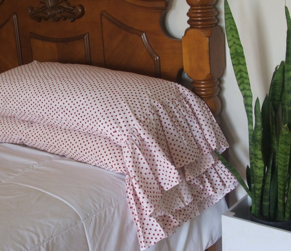shabby chic red polka dot pillowcases by MyThymeCreations on Etsy