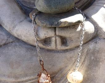 Whimsical Pendulum no. 3 - lampwork and natural gemstones
