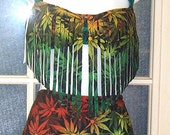 Rasta pot leaf two pice fringe bandeau with high waisted bottoms you choose print or solid color