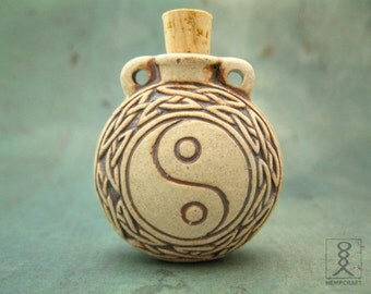 Yin Yang Pendant, Ceramic Bottle Pendant, High Fired Clay Vessel, 1pc