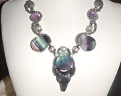 Onyx and  Fluorite Wolf Necklace