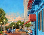 "Wilmington, NC, Art print called ""Night On The Town"" - Cafe scene, horse and carriage, horse and buggy, Riverboat Landing Restaurant"