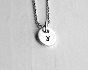 Tiny Initial Necklace, Letter y Pendant, Personalized Necklace, Letter y  Necklace, Initial Pendant, Sterling Silver Jewelry