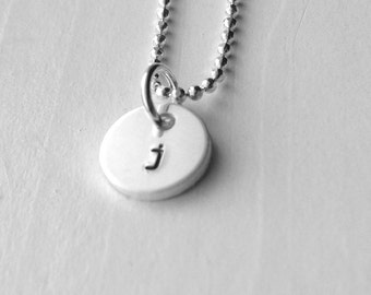 Tiny Initial Necklace, Letter j Pendant, Personalized Necklace, Hand Stamped Small Initial Pendant, Sterling Silver Jewelry, Charm Necklace