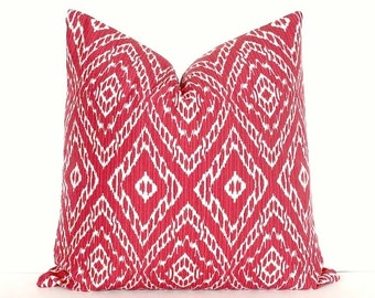 "Red & White Ikat Decorative Designer Pillow Cover 18"" poppy cherry Accent Throw Cushion modern suzani geometric crimson Valentines Day"