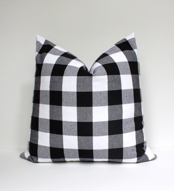 Modern Country Pillows : Modern Buffalo Check Designer Pillow Cover Black White Accent Throw Cushion tartan farmhouse ...