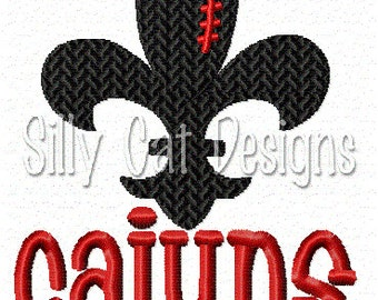 Cajuns Football Fleur De Lis Embroidery Design
