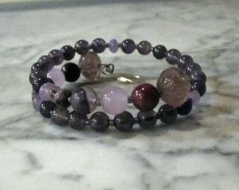 Natural Violet Stone and Crystal Crown Chakra Healing Bracelet