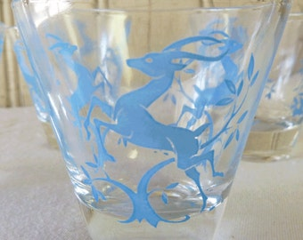 Vintage Hazel Atlas Leaping Gazelle Juice Set - Carafe and Four Glasses - Light Blue - Mid-Century 1940s or 1950s