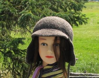 Knit Felt Hunter Cap Ear Flap Crusher Hat Bramble Grey Brown Unisex