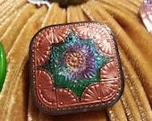 Iridescent Czech Glass Antique Button Brooch  - Green, Blue, Lavender, Pink, Gold