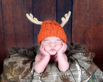 Baby Antler Beanie, Antler Hat, Hunting Hat, MADE TO ORDER